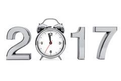 Concept 2017 de nouvelle année Signe de l'acier 2017 avec le réveil 3d les déchirent illustration stock