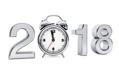 Concept 2018 de nouvelle année Signe de l'acier 2018 avec le réveil 3d les déchirent Image stock