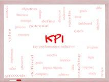 Concept de nuage de KPI Word sur un tableau blanc Photographie stock libre de droits