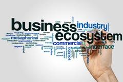 Concept de nuage de mot d'écosystème d'affaires sur le fond gris images libres de droits