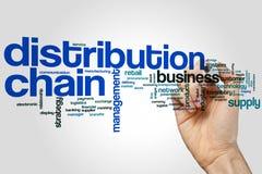 Concept de nuage de mot de chaîne de distribution sur le fond gris illustration stock