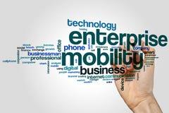 Concept de nuage de mot de mobilité d'entreprise sur le fond gris Images libres de droits