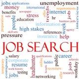 Concept de nuage de mot de recherche d'un emploi Image libre de droits