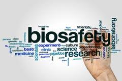 Concept de nuage de mot de sécurité biologique sur le fond gris images stock