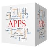 Concept de nuage de Word de cube en Apps 3D Photographie stock