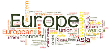 Concept de nuage de Word de l'Europe Images stock