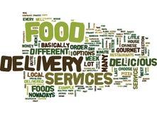 Concept de nuage de Word de fond des textes de services de distribution de nourriture Image stock