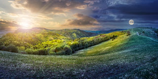Concept de nuit du jour NAD de paysage rural Photo stock