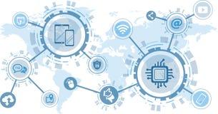 Concept de numérisation et de communication mobile - illustration de vecteur illustration stock