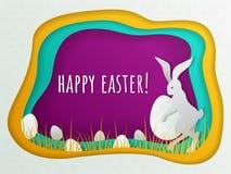 Concept de Pâques avec le lapin et les oeufs cachés dans l'herbe Calibre pour la carte postale de Pâques, bannière d'invitations, illustration stock