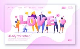 Concept de page de débarquement sur le thème d'histoire d'amour Caractère plat heureux de personnes tenant le grand AMOUR de lett illustration libre de droits