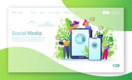 Concept de page de débarquement sur le thème social de réseau de médias Concept virtuel de transmission Illustration de vecteur p illustration stock