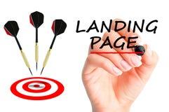 Concept de page d'atterrissage avec des flèches et une cible Photo stock