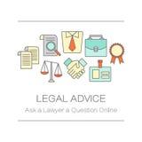 Concept de pagina of de banner van de titelplaats voor juridisch advies vector illustratie