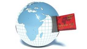 Concept de paiement. Opérations bancaires d'Internet. Carte de crédit avec le globe illustration de vecteur