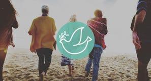 Concept de paix de plage d'été de relaxation de liaison d'amitié Photos stock
