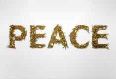 Concept de paix Exprimez la paix dactylographiée avec la police faite de balles Photos libres de droits