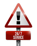 24-7 concept de panneau d'avertissement de service Photos libres de droits