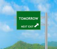 Concept de panneau routier au demain Images libres de droits