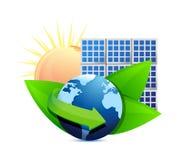 Concept de panneau solaire de globe d'énergie de renouvellement illustration de vecteur