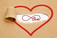 Concept de papier déchiré par amour éternel Photo stock