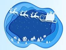 Concept de papier de profondeur d'art de Noël avec le vol du père noël avec le traîneau de renne sur le ciel au village illustration libre de droits