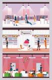 Concept de parfum de femme, chaussures et sacs et intérieurs de boutique de vêtements Illustration plate de vecteur avec des fill illustration libre de droits