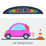 Concept de Parktronic avec la petite voiture illustration libre de droits