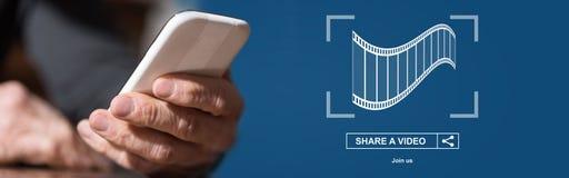 Concept de partager en ligne de vidéo photographie stock