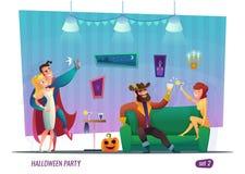 Concept de partie de Halloween Les gens dans le costume célèbrent Conception de personnages plate Images libres de droits
