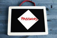 Concept de passion écrit sur le tableau noir Photo stock