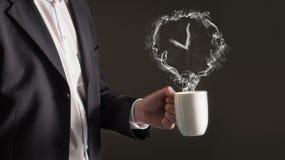Concept de pause-café Signe d'horloge de vapeur photos libres de droits