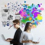 Concept de pensée créative et analytique Image libre de droits