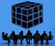Concept de pensée d'esprit de logique de dimension de matrices de cube Image stock