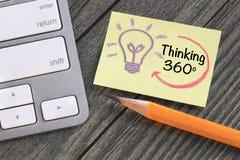 concept de pensée de 360 degrés Photos stock