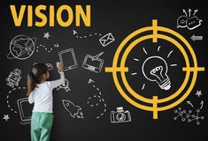 Concept de pensée de graphique de conception d'invention de progrès de vision image libre de droits
