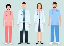 Concept de personnel hospitalier Groupe de médecins de l'homme et de femme, infirmière, planton médical illustration stock