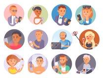 Concept de personnes et d'instruments Mode de vie social de communication de téléphone intelligent occupé de personne Vie moderne Images libres de droits