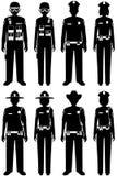Concept de personnes de police Ensemble de différentes silhouettes de dirigeant, de policier, de policière et de shérif de COUP d Images stock