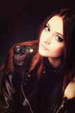 Concept de personnes - portrait adolescent de fille de mode photographie stock libre de droits