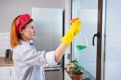 Concept de personnes, de travaux domestiques et de ménage - femme dans les gants nettoyant la fenêtre avec le jet de détergent à  images libres de droits