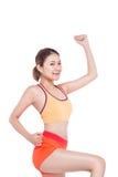 Concept de perte de poids Jeune femme de exercice gaie, o d'isolement photo stock