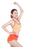 Concept de perte de poids Jeune femme de exercice gaie, o d'isolement images stock