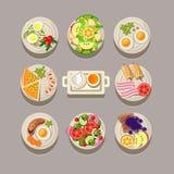 Concept de petit déjeuner avec la nourriture fraîche illustration libre de droits