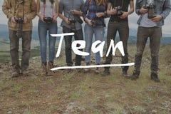 Concept de photographes de travail d'équipe d'amis d'équipe Images stock