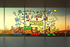 Concept de plan d'affaires dans un intérieur vide de bureau Photos stock