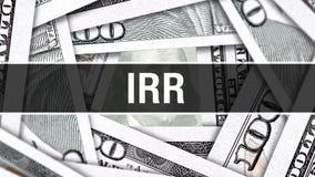 Concept de plan rapproché d'IRR Dollars américains d'argent d'argent liquide, rendu 3D IRR au billet de banque du dollar Message  illustration stock