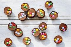Concept de plan rapproché de désert de petit pain de gâteau de chocolat Photos stock