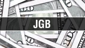 Concept de plan rapproché de JGB Dollars américains d'argent d'argent liquide, rendu 3D JGB au billet de banque du dollar Message illustration stock