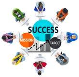 Concept de planification de croissance d'affaires de cible de mission de succès Photos stock